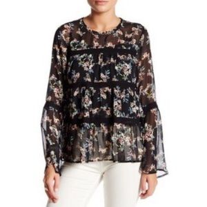 RO&DE Dark Floral Lace Bell Sleeve Blouse Top M